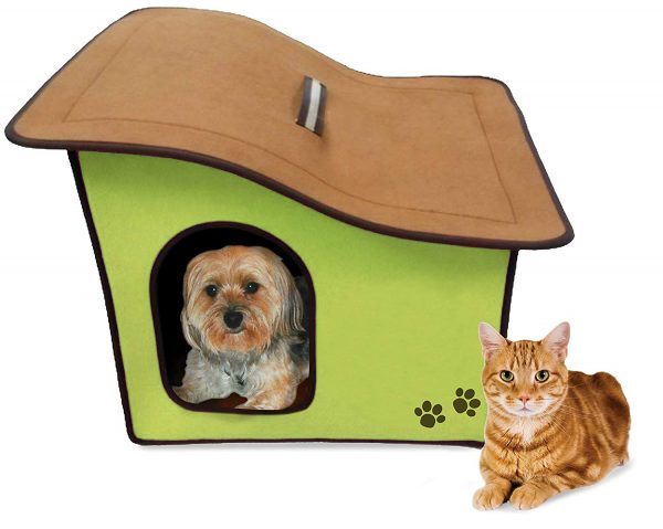 Penn Plax Portable Soft Dog House for Smaller Dogs, Green