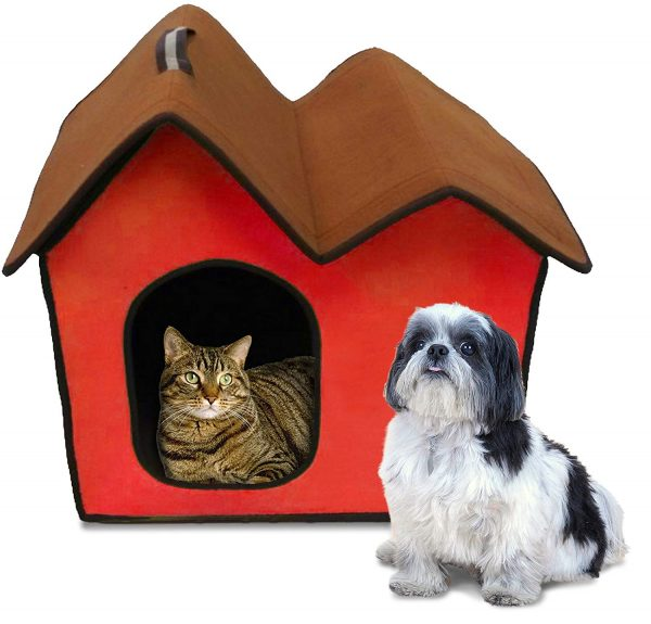Penn Plax ZH5 Dog Zipper House with Double Roof, Red