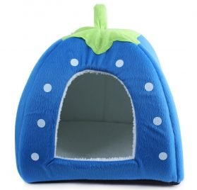 Suicazon Small Animal House Doggy kitty Strawberry Soft Home, Blue M 2