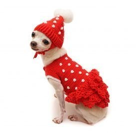 ToniMoz Polka Dot Red Dog Dress, Red Dog Dress, Pom Pom Dog Hat, Chihuahua Dress, Crochet Dog Sweater, 115F (XXS) 2
