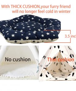 Yongs Pet Cat Dog Rabbit Teepee with Cushion,Portable Puppy Small Animals Bed Teepee Tent (20x24 inch) 2