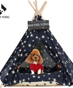 Yongs Pet Cat Dog Rabbit Teepee with Cushion,Portable Puppy Small Animals Bed Teepee Tent (20x24 inch)