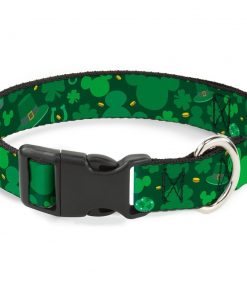 Buckle-Down St. Patrick'S Day Mickey Collage Greens Plastic Clip Collar, Narrow Small 6-9""