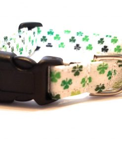 Green Shamrock on white Dog Collar puppy St. Patrick's Day Saint Patty Fabric Adjustable Irish Lucky glitter