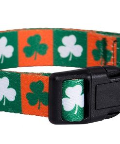 Native Pup St. Patrick's Day Dog Collars (Small, Green and Orange Shamrock) 2
