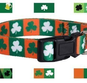 Native Pup St. Patrick's Day Dog Collars (Small, Green and Orange Shamrock)