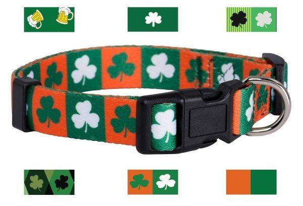 Native Pup St. Patrick's Day Dog Collars (Small, Green and Orange Shamrock)