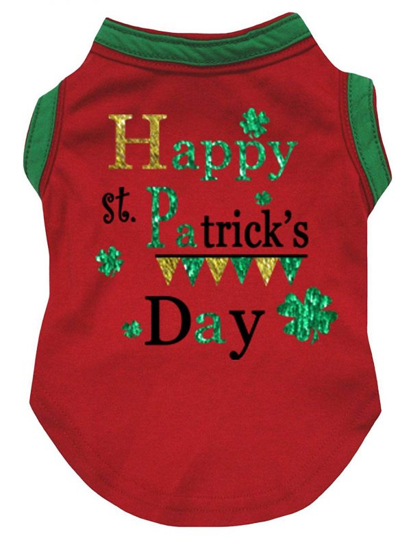 Petitebella Happy St Patrick's Day Red Cotton Shirt Puppy Dog Clothes