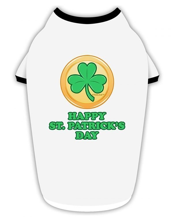 TooLoud Shamrock Button - St Patrick's Day Stylish Cotton Dog Shirt