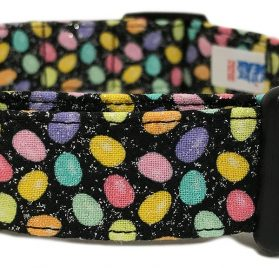 Adjustable Dog Collar in Black with Easter Mini Eggs (U.S.A. Made)