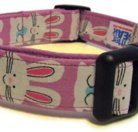 Adjustable Dog Collar in Easter Bunnies (Handmade in the U.S.A.)