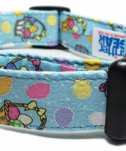 Adjustable Dog Collar in Light Blue with Easter Baskets (U.S.A. Made)