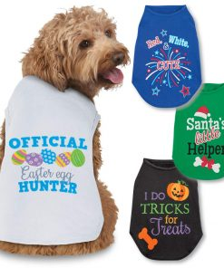 Collections Etc Seasonal Cheer Dog Tee Shirts Set of 4 - Halloween, Christmas, Easter, 4th of July