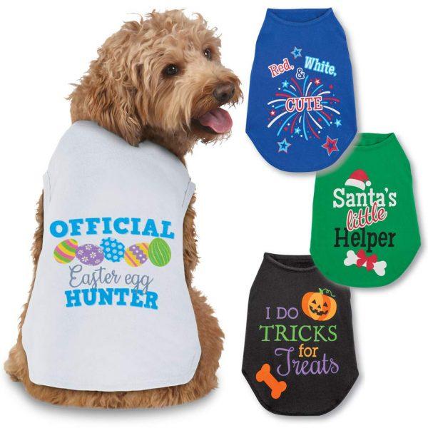 Collections Etc Seasonal Cheer Dog Tee Shirts Set of 4 - Halloween, Christmas, Easter, 4th of July