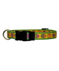 """Easter Eggs Dog Collar - Size Small 10"""" to 14"""" Long - Made In The USA"""