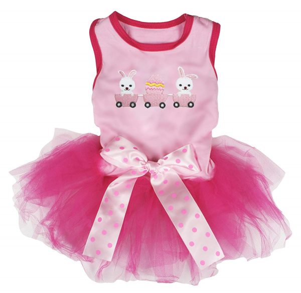 Petitebella Bunny Train Cotton Shirt Tutu Puppy Dog Dress