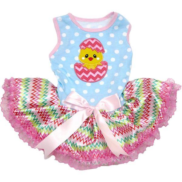 Petitebella Chick Egg Blue Polka Dots Shirt Chevron Lace Tutu Puppy Dog Dress