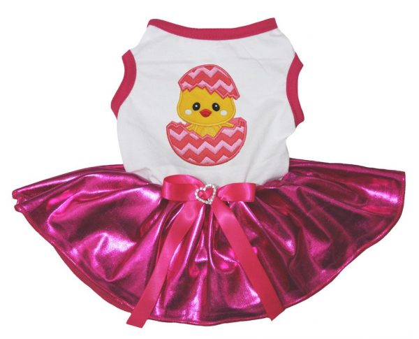 Petitebella Chicken Egg White Shirt Bling Hot Pink Tutu Puppy Dog Dress (X-Small)