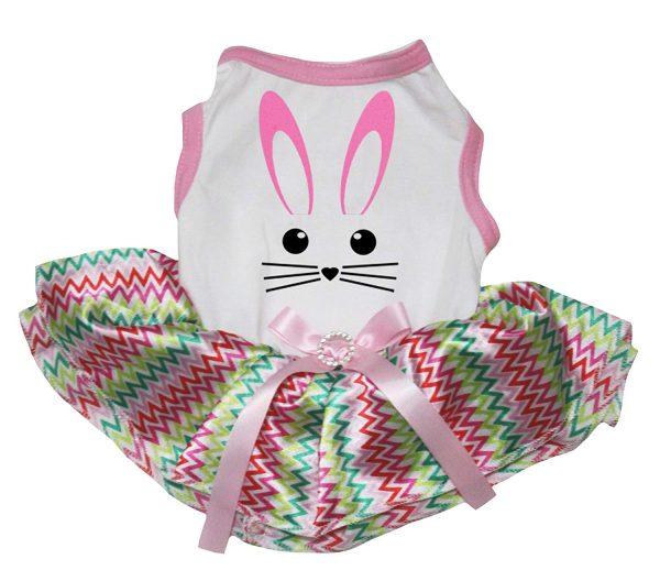 Petitebella Cute Bunny Face Shirt Tutu Puppy Dog Dress