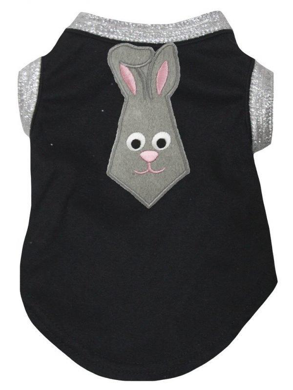 Petitebella Grey Bunny Neck Tie Cotton Shirt Puppy Dog Clothes