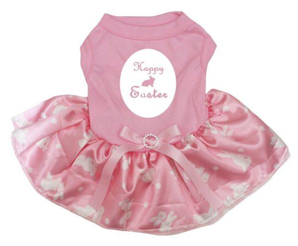 Petitebella Happy Easter Bunny Cotton Shirt Pink Tutu Puppy Dog Dress