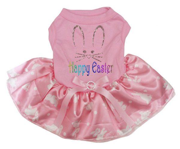 Petitebella Happy Easter Bunny Face Cotton Shirt Tutu Puppy Dog Dress