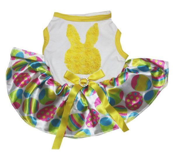 Petitebella Puppy Clothes Dress Easter Floral Bunny White Top Egg Rainbow Tutu