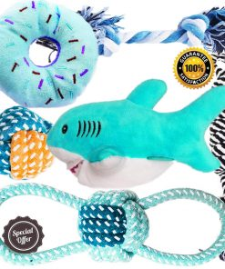 BUIBIIU Dog Puppy Toys Puppy Chew Toys for Playtime Teeth Cleaning Squeak Toys Puppy Teething Toys for Small Dogs Chihuahua 6pcs (Shark)