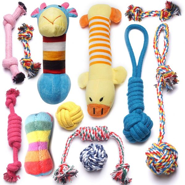 YUNKINGDOM (Pack of 12) Dog Rope Toys Squeaky Plush Dog Toys,Dog Chew Toys Set for Puppies and Small Dogs(Pack of 12)