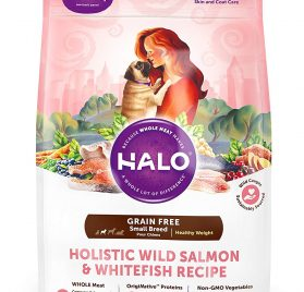 Halo Grain Free Natural Dry Dog Food, Small Breed Healthy Weight Wild Salmon & Whitefish Recipe, 4-Pound Bag