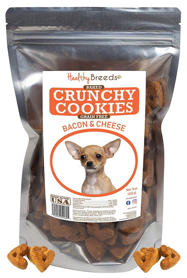 Healthy Breeds Grain Free Bacon & Cheese Crunchy Cookies - Baked Dog Treats Made with Quinoa - Easy to Chew & Easy to Break Apart - 6 or 16 oz