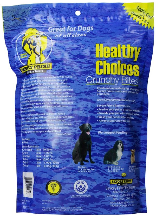 Savory Prime Cod Skin Dog Treats - Contains Omegas, Essential Oils and Nutrients to Help Promote a Healthier Skin, Coat, Heart & Overall Health 2
