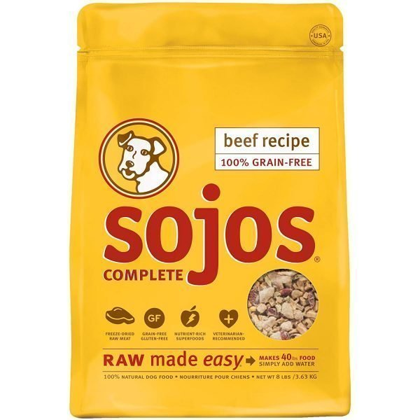 Sojos Natural Pet Food Complete Grain Free Freeze-Dried Beef Raw Natural Dry Dog Food Mix, 8-Pound Bag