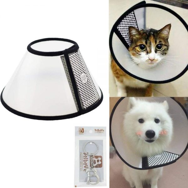 Bolbove Pet Plastic Clear Cone Recovery E-Collar for Mini Dogs & Small Cats