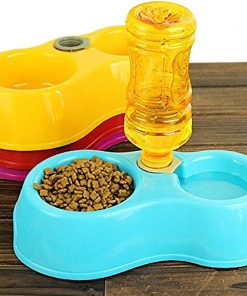 Fieans Lovely Plastic Dual Port Dog Cat Automatic Water Dispenser Food Dish Bowl Feeder - Blue 3