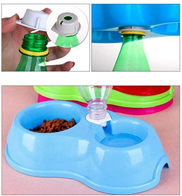 Fieans Lovely Plastic Dual Port Dog Cat Automatic Water Dispenser Food Dish Bowl Feeder - Blue 4