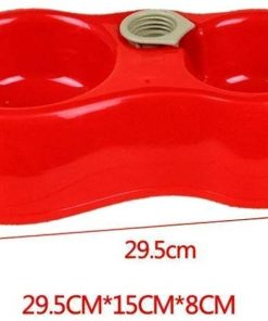 Fieans Lovely Plastic Dual Port Dog Cat Automatic Water Dispenser Food Dish Bowl Feeder - Blue 5