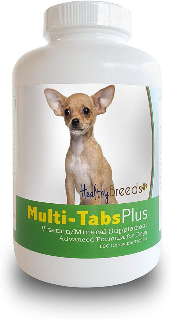 Healthy Breeds Multi-Tabs Advanced Formula Vitamin & Mineral Daily Dietary Supplement - Liver Flavored Tablets - Over 200 Breeds - 180 or 365 Chews