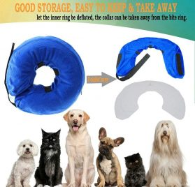 Inflatable Cone Collar for Dogs and Cats, Adjustable Soft Comfortable Pet Recovery Collar After Surgery, Protective Pets E-Collar to Prevent Dog from Biting,Scratching,Stitches, Rashes,Wounds 2