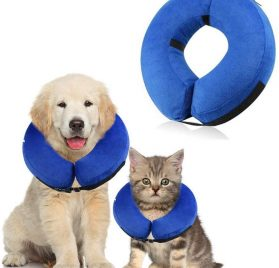 Inflatable Cone Collar for Dogs and Cats, Adjustable Soft Comfortable Pet Recovery Collar After Surgery, Protective Pets E-Collar to Prevent Dog from Biting,Scratching,Stitches, Rashes,Wounds