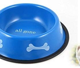 uxcell Round Pet Dog Food Water Feeder Bowl Dish, 8.5 inches, Blue 2