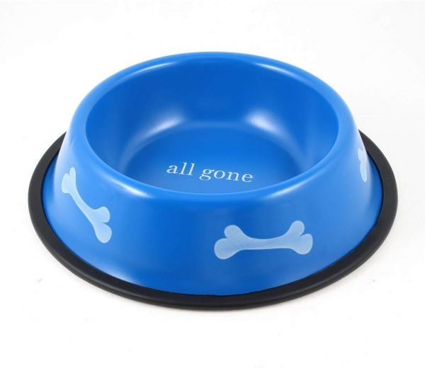 uxcell Round Pet Dog Food Water Feeder Bowl Dish, 8.5 inches, Blue