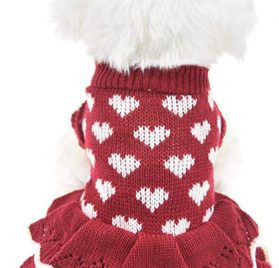 MUYAOPET Small Dog Sweaters Female Girl Red Winter Warm Dog Princess Dress Clothes Dachshund Chihuahua Corgi (XS(Bust 11.8inch), Red Heart)
