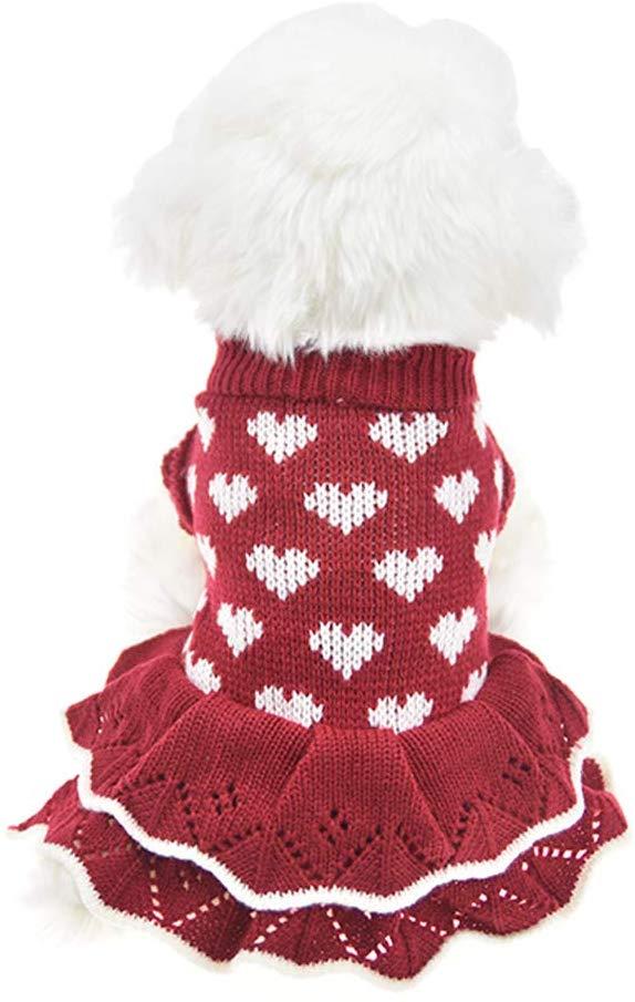 MUYAOPET Small Dog Sweaters Female Girl Red Winter Warm Dog Princess Dress Clothes Dachshund Chihuahua Corgi (XS(Bust 11.8inch), Red Heart)
