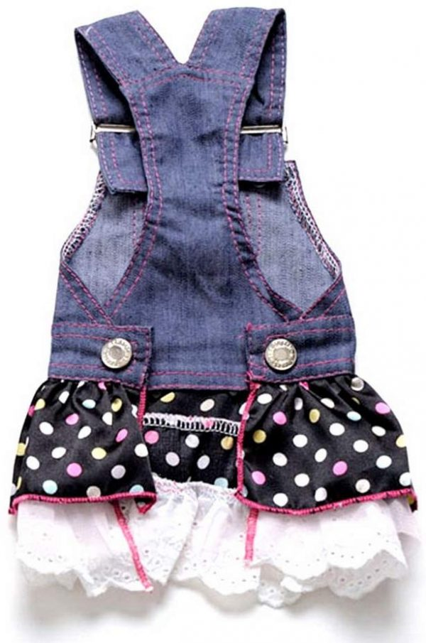 SELMAI Dog Costumes Cowboy Dress Onesies Denim Jumpsuit for Small Puppies Pet Cats Princess Jean Clothes with Pocket Bib Outfits Pleated Tiered Skirt Polka Dots Heart Sequins for Summer 2