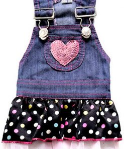 SELMAI Dog Costumes Cowboy Dress Onesies Denim Jumpsuit for Small Puppies Pet Cats Princess Jean Clothes with Pocket Bib Outfits Pleated Tiered Skirt Polka Dots Heart Sequins for Summer