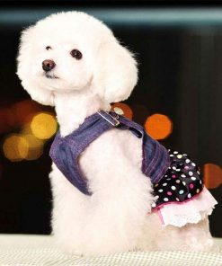 SELMAI Dog Costumes Cowboy Dress Onesies Denim Jumpsuit for Small Puppies Pet Cats Princess Jean Clothes with Pocket Bib Outfits Pleated Tiered Skirt Polka Dots Heart Sequins for Summer 3
