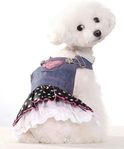 SELMAI Dog Costumes Cowboy Dress Onesies Denim Jumpsuit for Small Puppies Pet Cats Princess Jean Clothes with Pocket Bib Outfits Pleated Tiered Skirt Polka Dots Heart Sequins for Summer 4