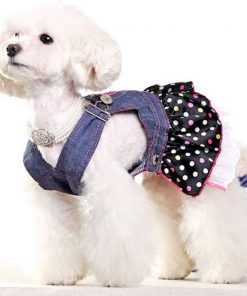 SELMAI Dog Costumes Cowboy Dress Onesies Denim Jumpsuit for Small Puppies Pet Cats Princess Jean Clothes with Pocket Bib Outfits Pleated Tiered Skirt Polka Dots Heart Sequins for Summer 5