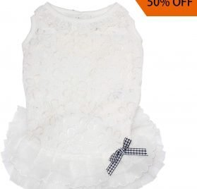 TONY HOBY Pet Dog Lace Dress Dog Wedding Dress Dog Bride Costume Pure White with Bowknot for Small Medium Dogs